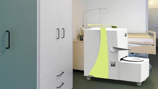 Eine Fotomontage eines Spitalzimmers mit der mobilen Toilette.