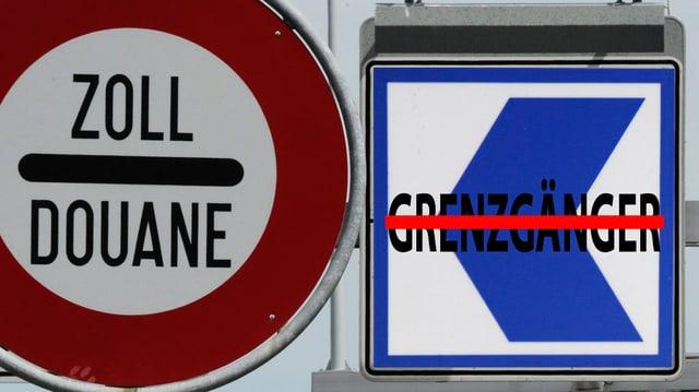 """Ein Zollschild, daneben ein Schild mit dem ZKB Logo, darauf der durchgestrichene Schriftzug """"Grenzgänger"""""""