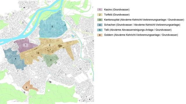 Plan der Stadt Aarau mit Fernwärmegebieten