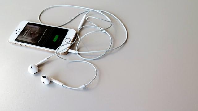 Ein Smartphone mit «Piano in the Background- Spotify Plalist und Kopfhörer.