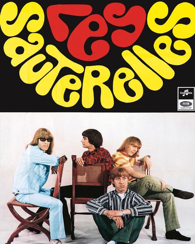 Plakat mit Bandfoto und bunten Schriftzug Les Sauterelles.