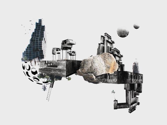 Zeichnung: Verschiedene Elemente wie ein Turm, eine Halbkugel, Bäume, Felsen sind teils kopfüber zusammengesetzt, frei schwebend in einer weissen Umgebung.