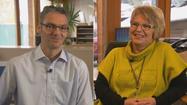Ernst Sax, president communal da Sursaissa ed Irene Schneider, presidenta communala da Mundaun.