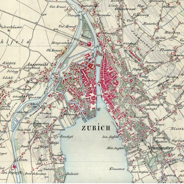 Zürich auf der Dufourkarte, um 1850