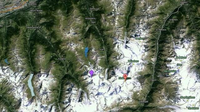 Karte des Val d'Anniviers, sichtbar die Pointes de Mourti und das Zinalrothorn.