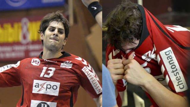 ein kämpfender Handballer, daneben einer, der seinen Kopf vergräbt