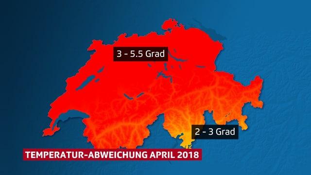 Karte der Schweiz mit den Temperaturabweichungen, welche auch im Text vorkommen.