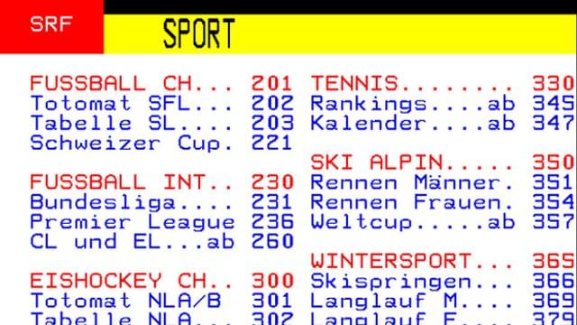 Pagina principala dal sport sin teletext.