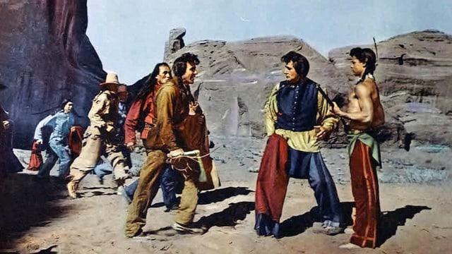 Eine Gruppe Indianer streiten.