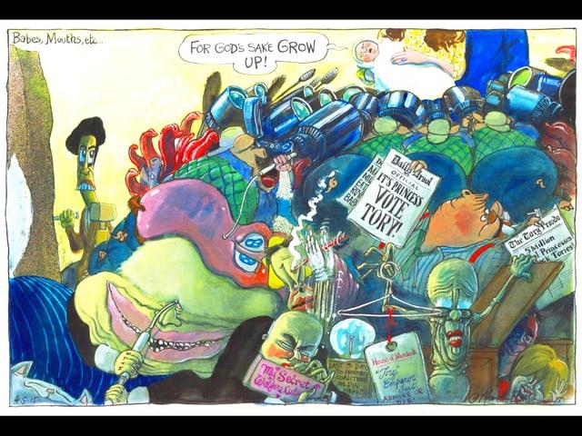 Ein Cartoon über das königliche Bay. Viele monsterartige Figuren halten Zeitungen hoch.