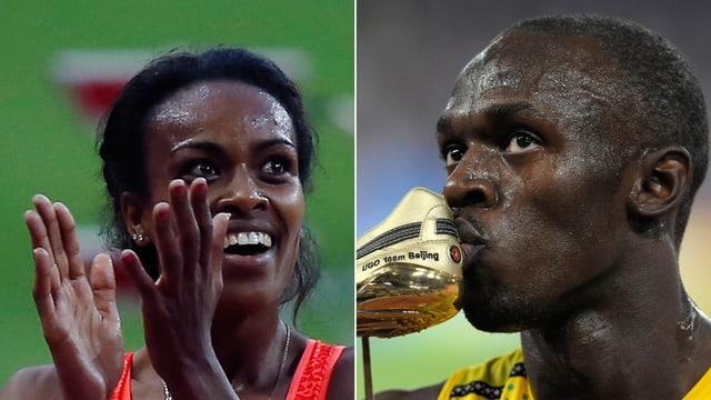 Genzebe Dibaba beim Applaudieren, und Usain Bolt küsst seinen goldenen Schuh.