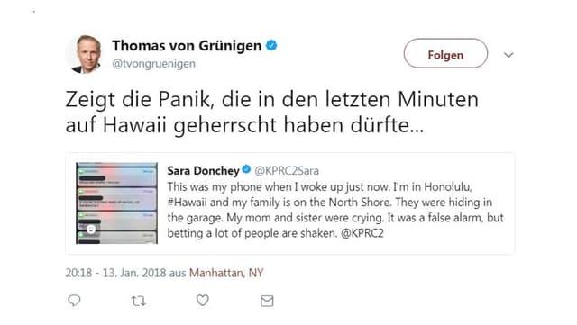 Re-Tweet von SRF-Korrespondent Thomas von Grüningen in New York.