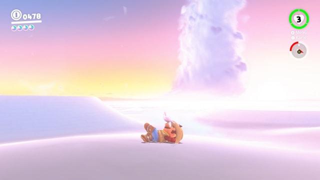Super Mario liegt auf einer Wolke und schläft so friedlich, dass sich sogar schon ein Vogel auf seiner Nase bequem gemacht hat.