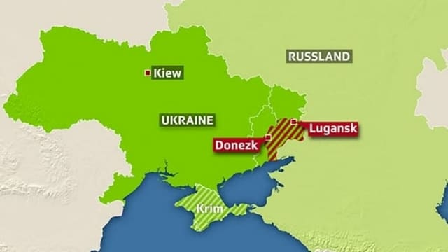 Karte des Konfliktgebietes in der Ukraine