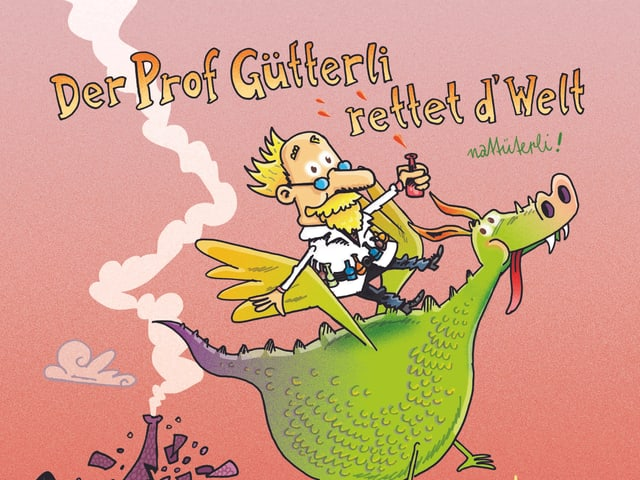 Ein Mann mit zerzausten Haaren, Brille und Schnauzbart reitet auf einem hellgrünen, fliegenden Drachen.