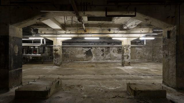 Eine unterirdische, leere Lagerhalle in Emmenbrücke.