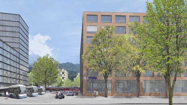 Eine Visualisierung des Bauprojekts am Bahnhof Horw.