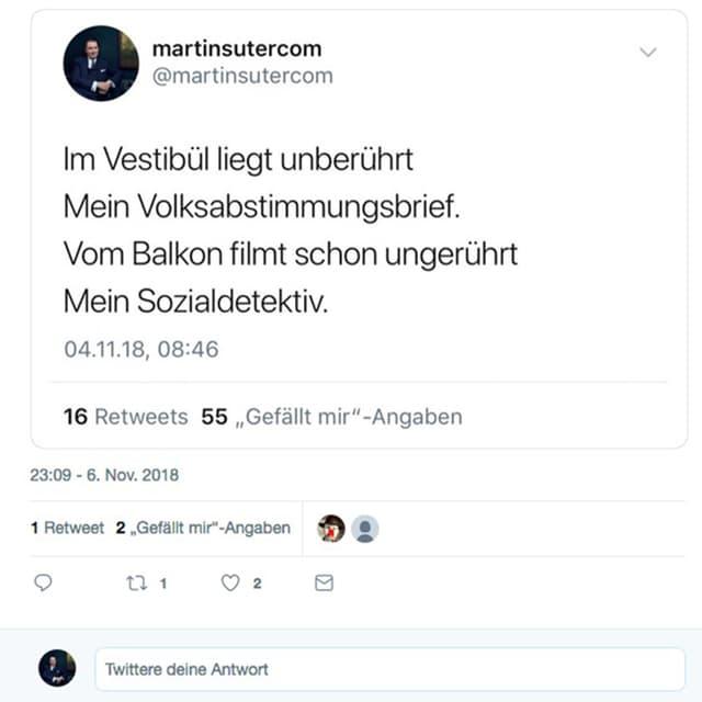 Kritisch, kurz, zu Gedanken anregend: Ein Tweet von Martin Suter.