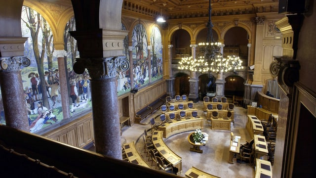 Der leere Ständeratssaal von der Zuschauertribüne aus photographiert