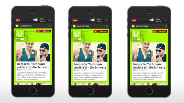 Drei Smartphones mit SRF Virus-Webseite