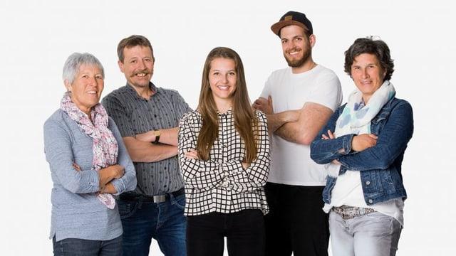 Bild der fünf Protagonisten Anna, Wisu, Katharine, Thomas und Marlies