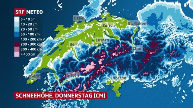 Eine Karte zeigt die Schneedecke in der Schweiz.