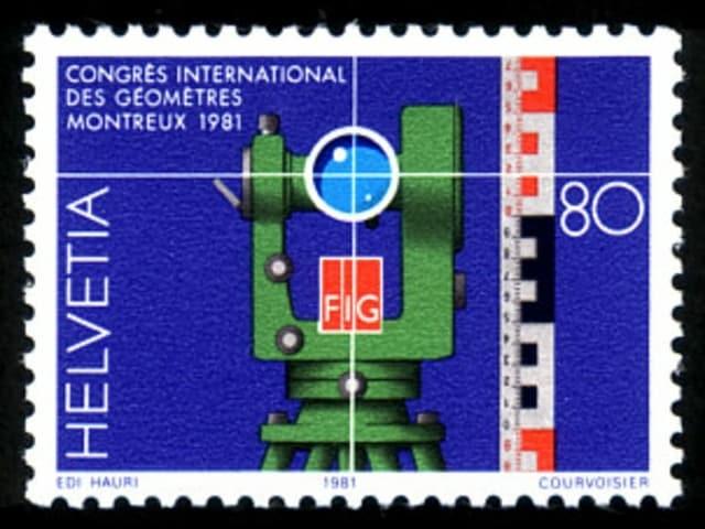 Briefmarke mit Theodolit.