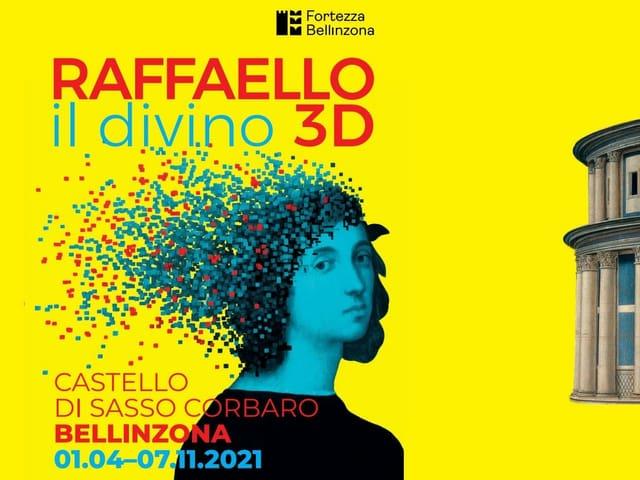 Flyer da l'exposiziun Raffaello - il divino 3D
