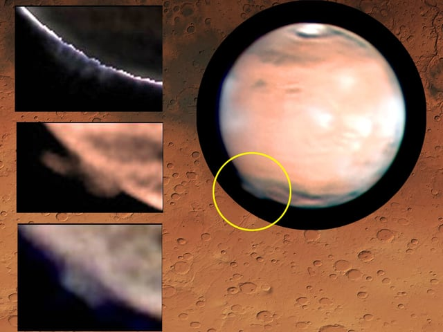 Kollage mehrerer Aufnahmen der Wolkenformation auf dem Mars.