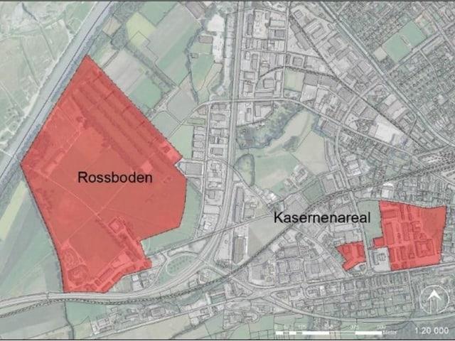 Purtret cun enramà cun cotschen il Rossboden e l'areal da la caserna.