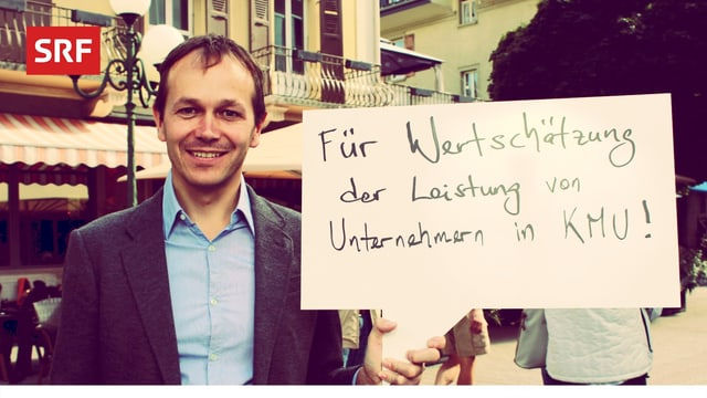 Dieser Mann fordert in der SRF-Fotobox in Visp: «Mehr Wertschätzung für die Leistung der Chefs von KMUs.»