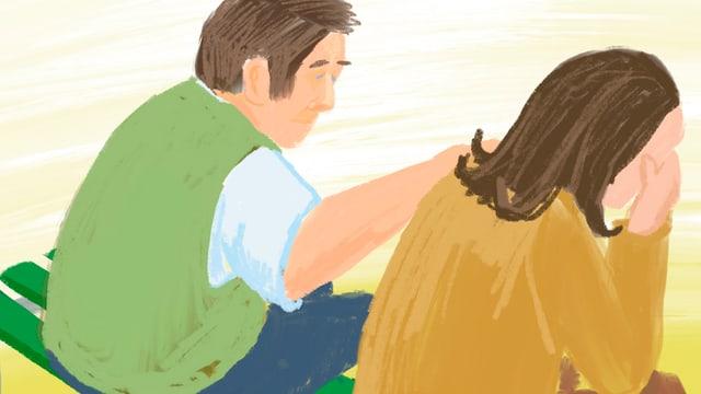 Ein Mann legt einer weinenden Frau die Hand auf die Schulter.