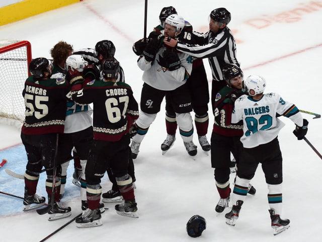 Prügelnde Eishockeyspieler.