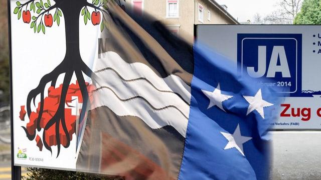 Werbeplakate für Abstimmung, davor eine Aargauer Flagge.