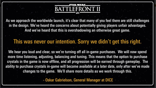 EA schreibt: As we approach the worldwide launch, it's clear that many of you feel there are still challanges in the design. We've heard the concerns about potentially giving players unfair advantages. And we've heard that this is overshadowing an otherwise great game. This was never our intention. Sorry we didn't get this right.
