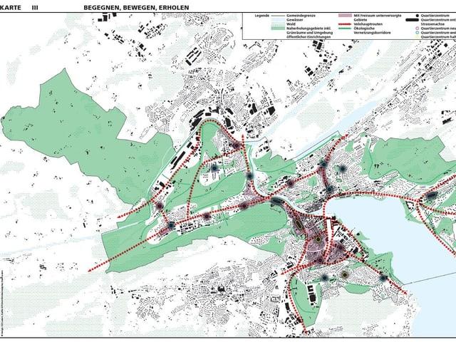 Grafik eines Stadtplanes mit verschieden farbig markierten Zonen.