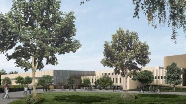 Ein visualisiertes Computerbild zeigt ein neues modernes Gebäude mit Parkanlage im Vordergrund.