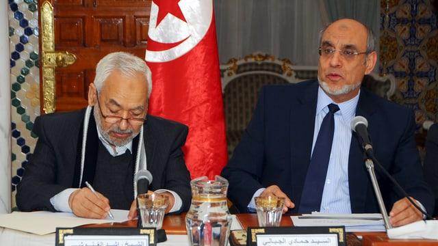 Ennahda-Chef Rachid Ghannouchi und Ministerpräsident Hamadi Jebali.