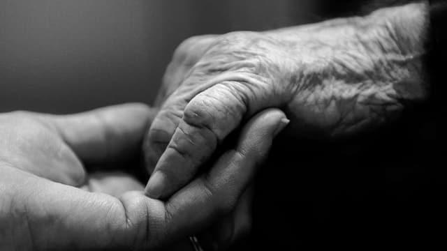 Zwei Hände, wovon eine sehr alt ist.