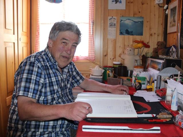 Luzius Kuster sitzt in seinem Hüttenwartszimmer und lächelt in die Kamera.
