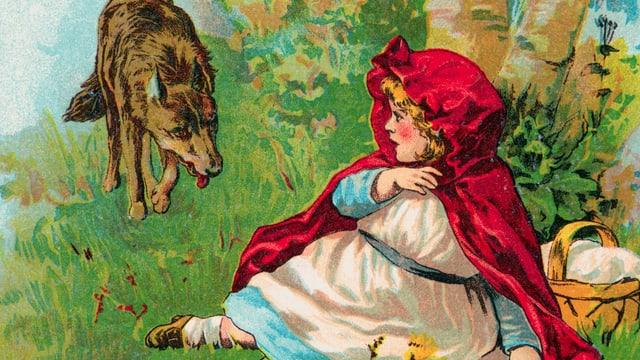 Rotkäppchen sitzt auf der Wiese. Der Wolf nähert sich ihr.