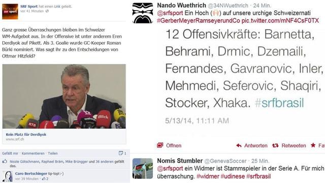 Screenshot Twitter und Facebook