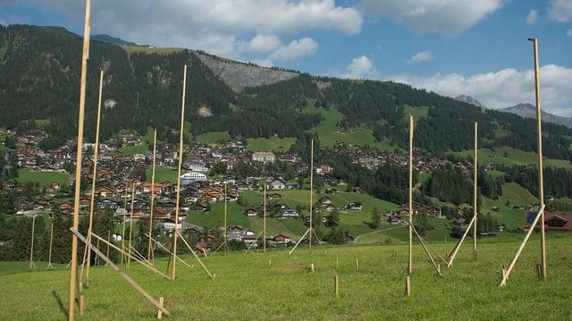 Profils da construcziun avant ina culissa alpina.