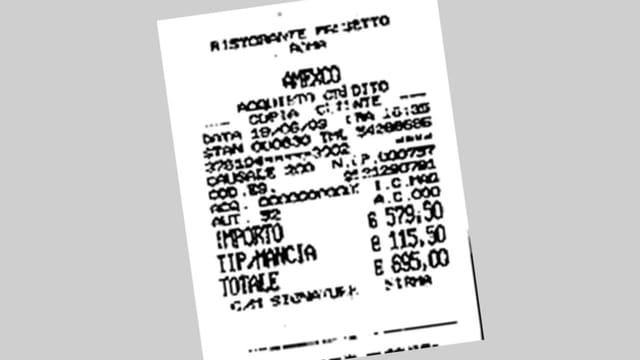 Quittung für ein Mittagessen in einem Restaurant in Rom