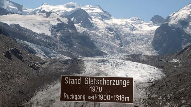 Infotafel zum Gletscherschwund des Morteratschgletschers bei Pontresina, aufgenommen am 12. August 2003.
