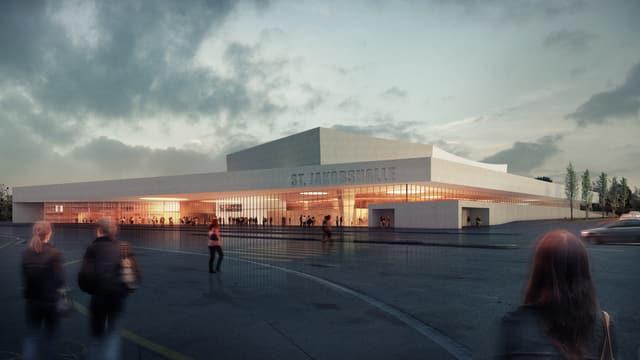 Visualisierung der neuen St. Jakobshalle.