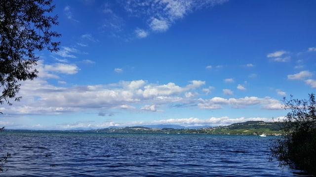 Blick über den sonnigen Murtensee mit flachen Quellwolken.