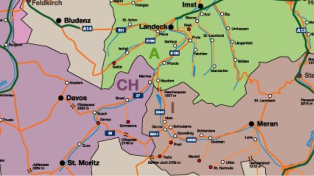 il triangula da cunfin da lla Svizra, l'Austria e l'Italia