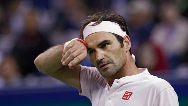 Roger Federer durant in da ses gieus al turnier a Schanghai