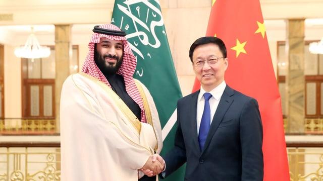 Chinas Vizepremier Han Zheng traf am 22. Februar 2019 in Peking Kronprinz Mohammed bin-Salman.